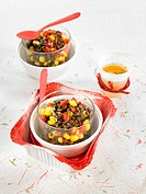Lentil,sweet corn and red pepper salad with cider vinegar dressing