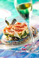 Vegetable timbale with cooked and smoked salmon