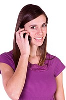 Close up Shot of a Beautiful Girl Talking on the Cell Phone _ Isolated