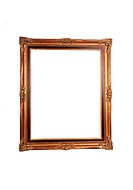 An old gold colored picture frame for white background.