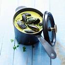 Creamy mussel saffron soup