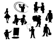 Set of cartoon silhouettes isolated on white background  All peoples manually painted