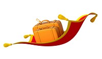 3D illustration with two suitcases on the flying carpet