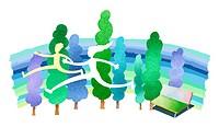 Man and woman running on rainbvow, Illustration