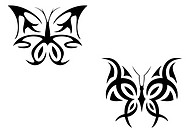 Isolated tattoo of beautiful black butterfly on white