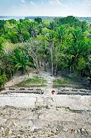 View from the top of structure N10-43, also known as El Castillo Maya temple ruins at Lamanai 300BC - 1500AD Lamanai Belize.
