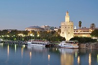 view of the tower of gold on the banks of the Guadalquivir River, Seville, Andalucia, Spain