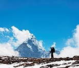 Backpacker in Himalaya mountain