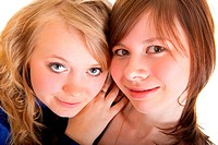Fun portrait of two young girl friends
