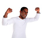 An attractive dark_skinned man cheering. All on white background.