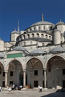 The facade of the Blue Mosque, Sultanahmet, Istanbul, Turkey.
