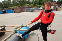 Visually impaired man doing raft_building activity at the National Water Sports Centre
