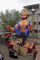 making of hanuman statue, Ganpati festival Pune , Maharashtra , India