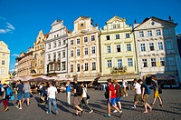 Group of tourists Staromestske namesti the old town square Prague Czech Republic Europe