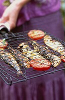 Grilled Sardines in a fish grill basket