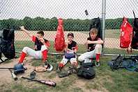 Baseball Players Having a Break