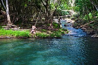 Kipu Falls is a secret swimming hole on Hawaii´s island of Kauai, USA. A gigantic rope swing allows for thrill seekers to swing off the cliff and into...