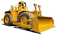 detailed vectorial image of wheeled dozer, isolaned on white background. Contains gradients