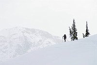 Backcountry skier in the mountains