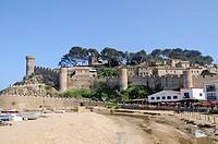 Castle Villa Vella, old town, coastal village Tossa de Mar, Costa Brava, Catalonia, Spain, Europe, Burg Villa Vella, Altstadt, Kuestenort Tossa de Mar...