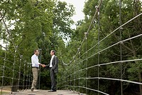 Men Shaking Hands on Bridge