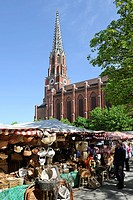 Auer Dult fair, Maria Hilf Church, Mariahilfplatz square, Munich, Upper Bavaria, Germany, Europe, PublicGround