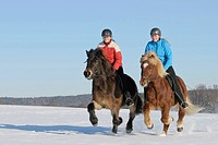 Two young riders galloping on Icelandic Horses during a ride out in winter