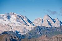 Blick vom Hexenstein zum vergletschertem Massif der Marmolada