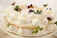 Food, Food And Drink, Cake, Meringue, Egg White, Toasted, Sugar, Dessert, French Food, Swiss Food, Garnish, Edible Flower, Cake Stand,