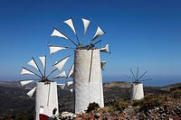 Windmills with sails, Lasithi Plateau, Prefecture Lasithi, Crete, Greece