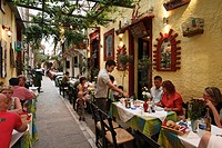 Restaurants in a lane, old town, Rethymnon, Crete, Greece