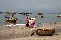 Harbor with fishing boats and coracles, Mui Ne, Binh Thuan, Vietnam