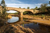 River of the Fresnera and bridge, El Cerro del Andevalo, Huelva-province, Spain,