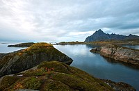 Landscape of the Lofoten islands in Autumn, Austvagoy, Nordland, Norway, Scandinavia, Europe