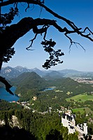 View to Neuschwanstein Castle and Hohenschwangau Castle, Schwangau near Fuessen, Allgaeu, Bavaria, Germany