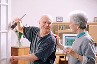 Senior couple doing home improvements