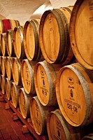 Cellar with wine barrels at Klein Constantia winery, Constantia, Cape Town, Western Cape, South Africa, RSA, Africa