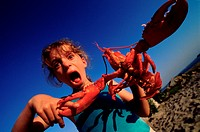 Lobster Pinching Girl´s Fingers