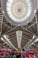 View of art nouveau ceiling at central market hall Mercado Central, Valencia, Spain, Europe