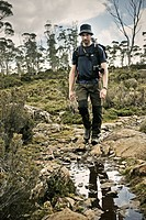 Hiking across Tasmanias wilderness, Walls of Jerusalem National Park, Tasmania, Australia