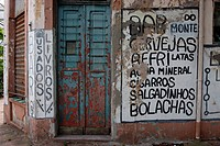 Bar, closed, abandoned, sign, bookstore, worn books, Brazil