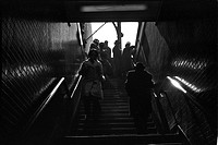 People on Subway Stairs, Chicago, Illinois, USA
