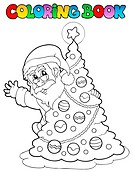 Coloring book Santa Claus theme 5 _ picture illustration.