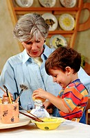 Pottery with grandson