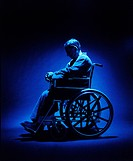 Troubled man in a wheelchair