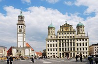 AUGSBURG, GERMANY _ APRIL 16: City centre of Augsburg on April 16, 2011. Augsburg hosts the FIFA soccer worldcup of the women in 2011.