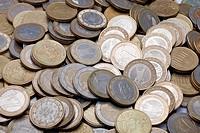 Viele Euromünzen _ Nahaufnahme Many Euro coins _ Close_up