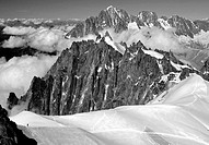 lonely climber seen from Aiguille du Midi, next to Mt Blanc, French Alps, France, Europe
