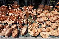 Wicker baskets for sale  Azores islands handicraft, made in Agua de Pau, Sao Miguel island