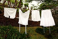Vintage underwear laundry drying outside